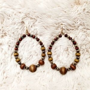 Wood Bead & Silver Dangle Earrings